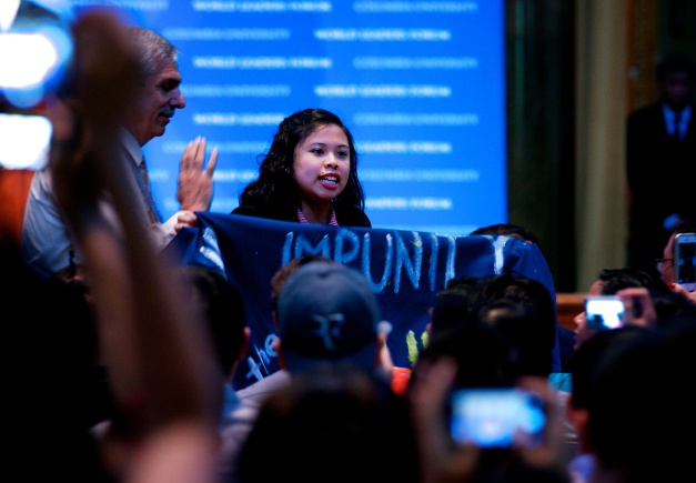 A member of a militant group disrupts President Aquino's speech in the World Leaders Forum in Columbia University.
