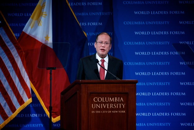 Philippine President Benigno S. Aquino III delivers a speech at the World Leaders Forum hosted at Columbia University.